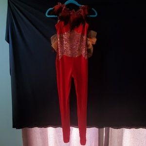 "Curtain Call ""Flight"" Red Unitard Dance Costume"